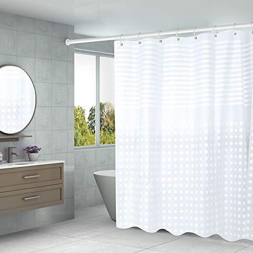 Aistuo Duschvorhang 180 x 200 Transparent,PEVA Wasserdicht, Halb-transparent Klar, Anti Schimmel, PVC-frei Umweltfre&lich Waschbar mit 12 Ringe (Streifen)