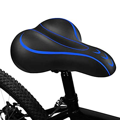 BLUEWIND Bike Seat, Most Comfortable Bicycle Seat Memory Foam Waterproof Bicycle Saddle - Dual Shock Absorbing - Best Stock Bicycle Seat Replacement for Mountain Bikes, Road Bikes (Blue)