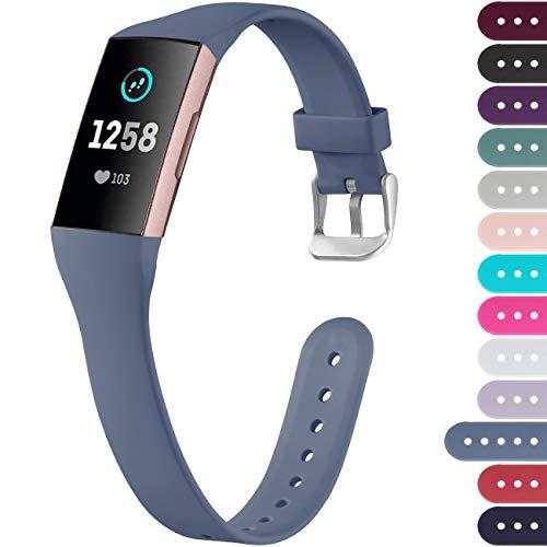Ouwegaga Compatible con Fitbit Charge 4 Correa/Fitbit Charge 3 Correa, Pulsera Deportiva de Repuesto para Mujeres Hombres, Pequeña Gris Azulado