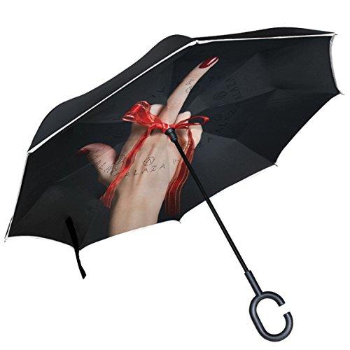Alaza Mittelfinger-Regenschirm für Damen, doppelschichtig, winddicht