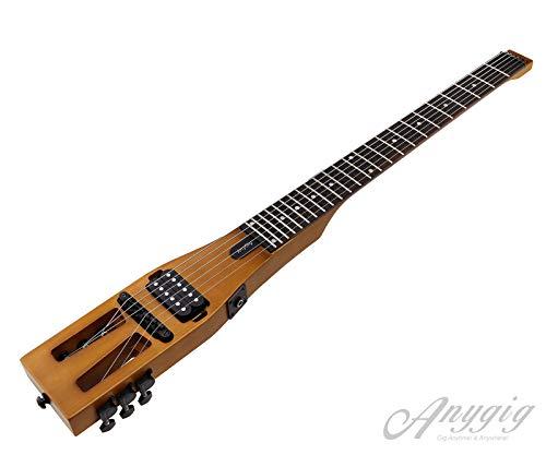 Guitarra eléctrica de viaje portátil de edición mejorada Anygig 010 ~ 046 con cable de salida de audio negro mate con bolsa de transporte