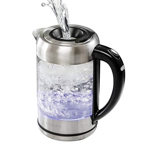 Ovente Electric Glass Hot Water Kettle 1.7 Liter Blue LED Light Borosilicate Glass with ProntoFill Technology the Easy Fill Solution, Portable 1500 Watt Fast Heating for Coffee and Tea, Silver KG612S