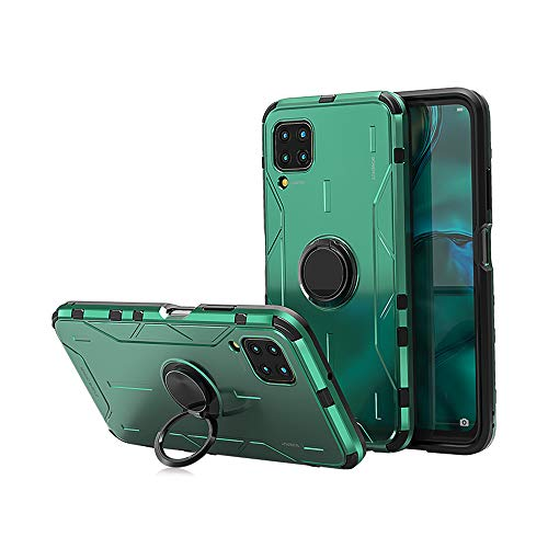 Jonwelsy Case for Huawei P40 Lite/Nova6SE, Shockproof Soft Silicone + Aluminum Alloy Armor Cover with 360 Degree Rotation Ring Holder Kickstand Compatible Magnetic Car Mount for P40 Lite (Green)