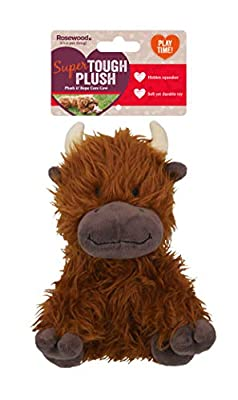 Tough Rope Core Cow, Plush Interactive Dog Toy - Brown