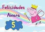 OBLEA de Peppa Pig Hada Personalizada con Nombre y Edad para Pastel o Tarta, Especial para cumpleaños, Medida Rectangular de 28x20cm