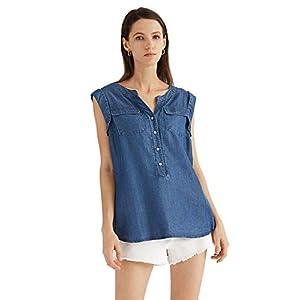 Women's Denim Shirt Chambray Tencel  Jean Shirt Blouse