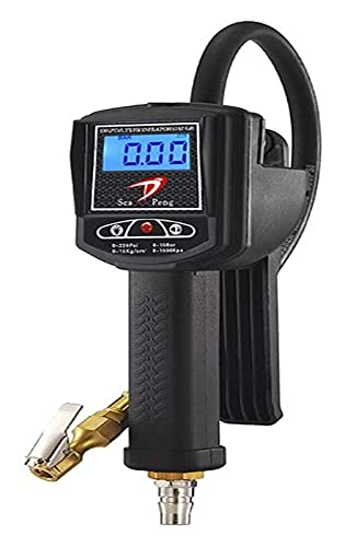 Tyre Pressure Gauge Charging and Deflated Tire Pressure Gauge Precision Digital Display Tire Pressure Gauge Barometer for Cars Motorbikes Bicycles Tool (Color : Black, Size : One Size)