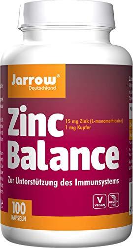 Zinc Balance 15 mg, vegan, Zink-Methionin-Komplex mit Kupfer (Verhältnis 15:1), 100 geschmacksneutrale Kapseln, optimal bioverfügbar, Jarrow Deutschland