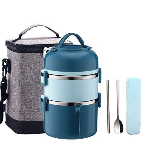 Edelstahl Wärmeisolierter Lebensmittelbehälter, Thermobehälter für Essen, Lunchbox Snackbox,Ideal für Schule, Picknicks, Reisen,Blau,2200ml