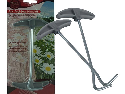 NEW - PACK OF 2 x TENT PEG PULLERS / REMOVERS / EXTRACTORS - QUICK / EASY / NO HASSLE / NO FUSS - STEEL HOOK WITH PLASTIC HANDLE
