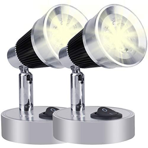 12V LED Leselicht, 3W Leselampe Nachttischlampen Warmweiß mit Schalter für Reisemobil Caravan Boat (2 STÜCKE)