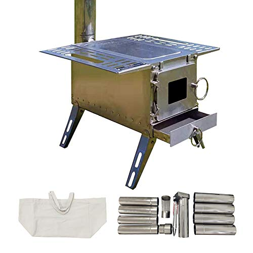 DANCHEL OUTDOOR Portable Tent Wood Burning Stove with Pipe Multipurpose Camping Folding(Stainless Steel Cube Stove, 151518/88inch)