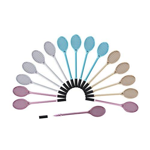 Shulaner Set di penne con inchiostro gel, Tennis Badminton Racchetta forma nero gel penna, 0,38 mm, 16 pezzi