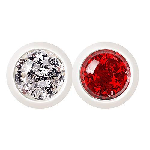 4 cajas de mariposa roja blanca hoja de arce escamas chispas arte del clavo lentejuelas caja individual embalaje para la decoración del clavo