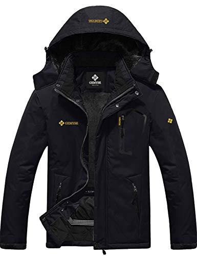 GEMYSE Men's Mountain Waterproof Ski Snow Jacket Winter Windproof Rain Jacket (Black,3X-Large)