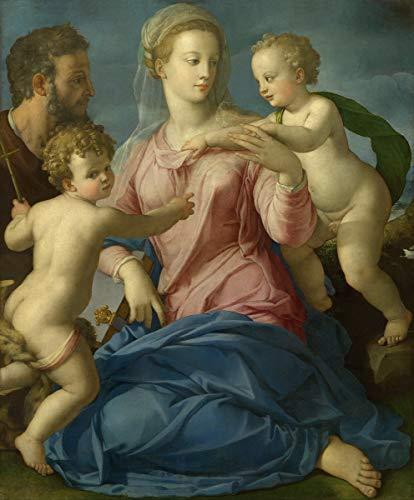 Agnolo Bronzino Giclee Kunstdruckpapier Kunstdruck Kunstwerke Gemälde Reproduktion Poster Drucken(Die heilige Familie mit dem Säuglingsheiligen Johannes der Täuferin Madonna strogan ab) #XZZ
