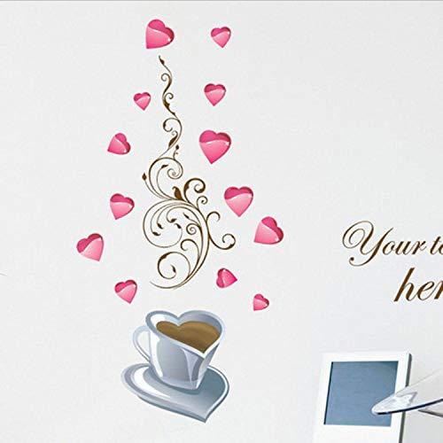 SIUWY Restaurang kök kärlek hjärta blomma vinstockar kaffekopp väggklistermärke heminredning avtagbar vägg glasskåp gör-det-själv vinyldekaler