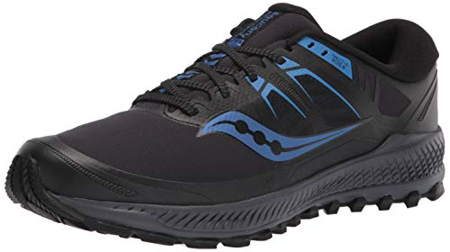 Saucony Men's Peregrine ICE+ Trail Running Shoe, Black/Blue, 11