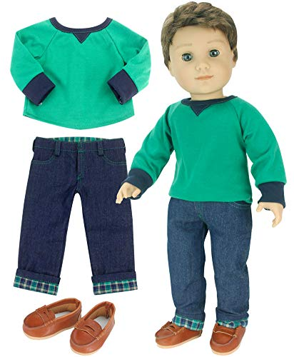 Sophia's 18 Inch Boy-Doll-Outfit 3 Pc. Green Shirt, Brown Penny Loafers, Flannel Cuffed Jeans Outfit for Boy Dolls. Perfect for American Dolls and More!   3 Piece Outfit, Doll Not Included