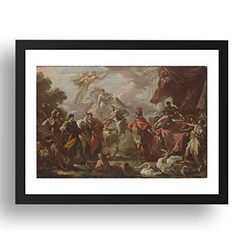 Giovanni Antonio Pellegrini: An Allegory of the Marriage of the Elector Palatine, vintage art, A3 reproduction in 17x13' (A3) Black Frame
