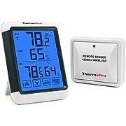 ThermoPro TP65 Hygromètre Numérique Sans Fil Thermomètre Intérieur Extérieur Moniteur de Température et D'humidité avec Écran Géant Écran Tactile et Rétroéclairage, Portée de 60M