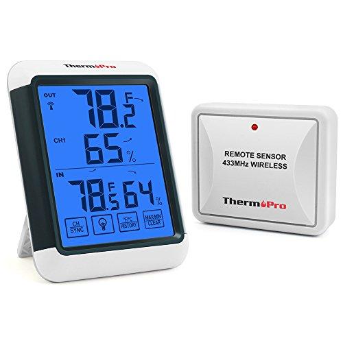 ThermoPro TP65 Funk Thermo-Hygrometer Digitales Thermometer Hygrometer Klima-Monitor Funkwetterstation mit Funk-Außensensor, Reichweite bis zu 60m