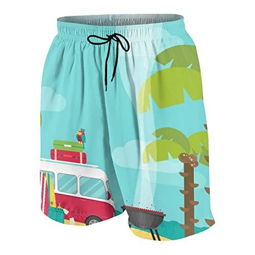 SUHOM De Los Hombres Casual Pantalones Cortos,Explore el Camping de caravanas con Barbacoa y Tablas de Surf Playa Tropical Plátano Cocoteros,Traje de Baño Playa Ropa de Deporte con Forro de Malla