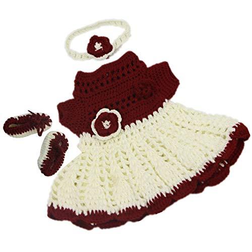 CJF Conjunto De 2 Bebés Encantadores Hechos A Mano. Simulación De Ropa De Bebé Vestido De Suéter Rojo Y Blanco Hecho A Mano Y Diadema Paño De Muñeca De 17 Pulgadas Regalo De Cumpleaños De Niña