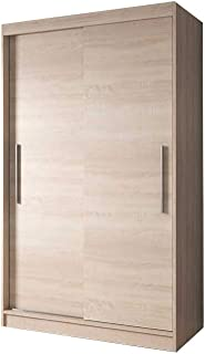 E-MEUBLES Armoire de Chambre avec 2 Portes coulissantes | Penderie (Tringle) avec étagères (LxHxP): 120x200x61 Noah 04 (So...