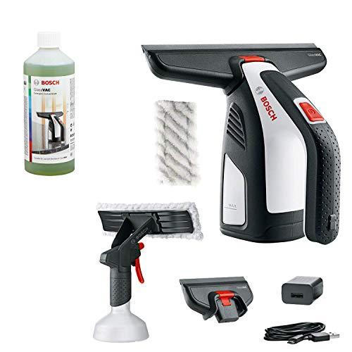 Bosch Spazzola per Finestre a Batteria, Caricabatteria USB, Cinghia da Polso, 2 Accessori, 3.6 V batteria, confezione in Cartone + Detergente per vetri e superfici non porose, 500 ml
