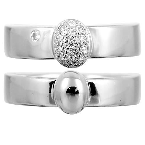 [ココカル]cococaru ペアリング シルバー リング2本セット ダイヤモンド マリッジリング 結婚指輪 日本製(レディースサイズ5号 メンズサイズ13号)