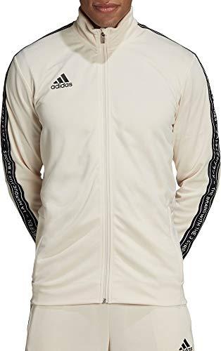 adidas Mens Tiro 19 Soccer Track Jacket (Linen/Black/White, Large)
