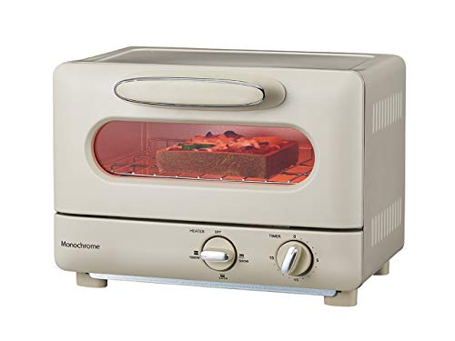 モノクローム オーブントースター 1000W ホワイト レトロ MOS-1028/W [Amazon限定ブランド]