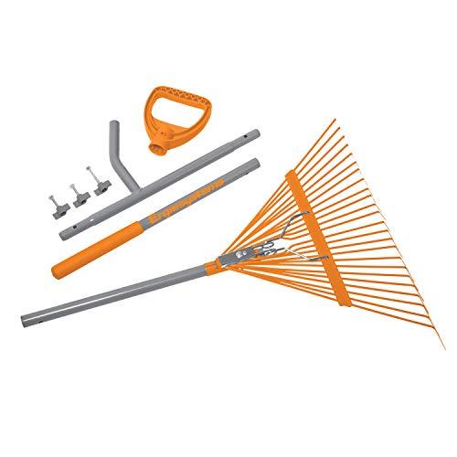 ERGIE SYSTEMS ERG-LFRK24 ErgieShovel Strain Reducing 54-Inch Shaft, 24 Steel Teeth Leaf Rake, Gray/Orange