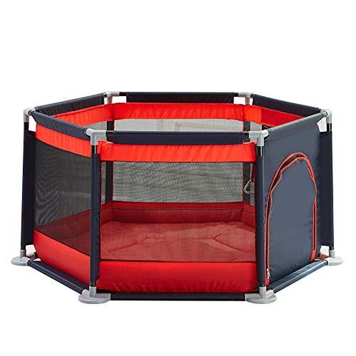 XJJUN-Parc bebe Boule D'océan Coton Épais Barrière De Garde Salle De Jeux Rehaussement Hexagone Sécurité Stable Respirant, 4 Couleurs (Color : Red-A, Size : 140X65CM)
