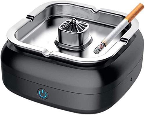 Cenicero multifuncional, filtro de cenicero portátil sin humo USB cargable,Black