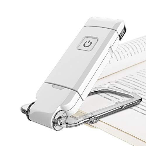 HONWELL LED Clip Leselampe Buch Klemm 1 Pack USB-Wiederaufladbare Buchleuchte Kinder und Helligkeit Verstellbare Bettleseleuchte in der Nacht, Touch-Schalter, Clip auf Bücher Kindle