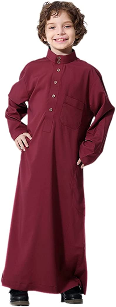 KEHAIEN Muslim Robe Teenager Kids Saudi Arabia Abaya Boy Thobe Middle East Full Sleeve Jubba Islamic Thobe Kaftan Robes