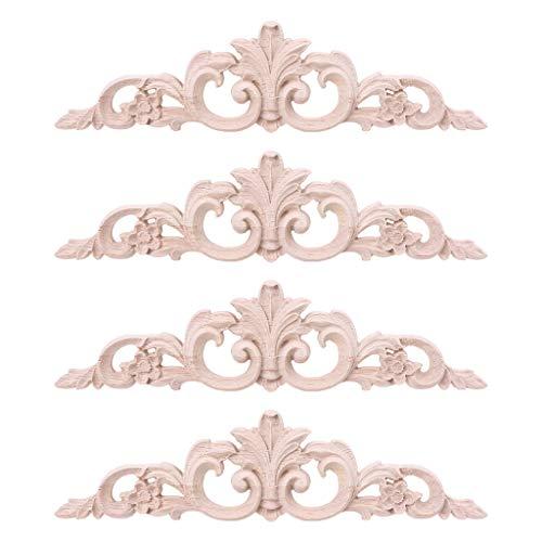 S-TROUBLE 4 Piezas exquisitos Apliques de Madera Tallada para Muebles gabinete molduras de Madera sin Pintar decoración de calcomanías