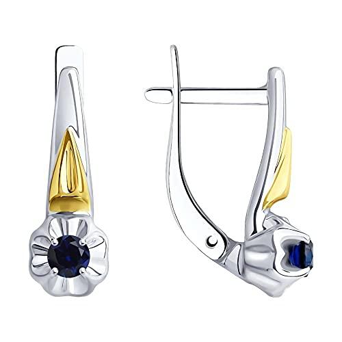 Mirkada - Pendientes de plata para mujer, chapados en oro con zafiro, color azul