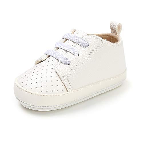 LACOFIA Zapatos Primeros Pasos de Bebé Niños Zapatillas Suaves Antideslizantes de Bebé con Cordones Blanco 3-6 Meses