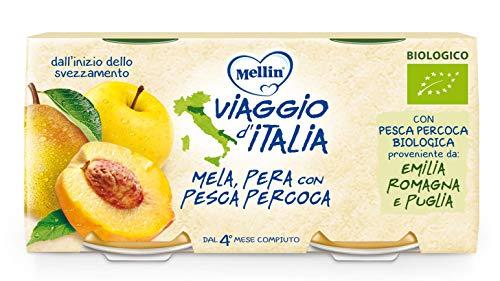 Mellin Viaggio d'Italia, Omogeneizzato di Frutta Bio, Mela, Pera e Pesca Percoca - 24 Vasetti da 100 gr