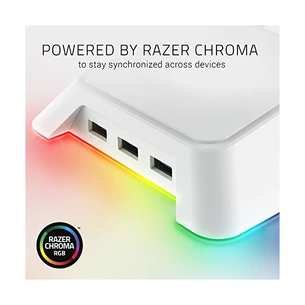 Razer Base Station Chroma Headphoneheadset Stand W Usb Hub Chroma Rgb Lighting 3x Usb 30 Ports Non Slip Rubber Base Designed For Gaming Headsets Mercury White