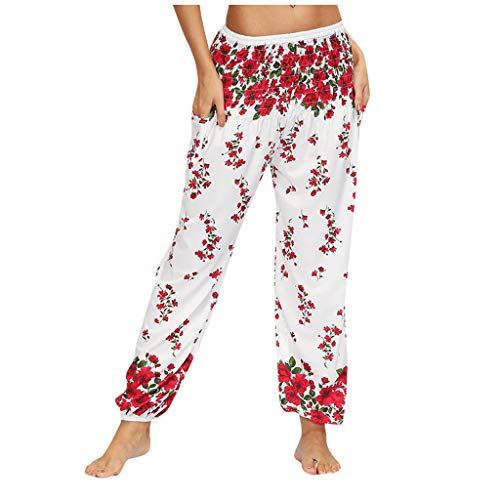 TIMEMEAN Damen Hosen Lang Breites Bein Drucken Elastische Taille Casual Locker Yoga Pumphose Hose