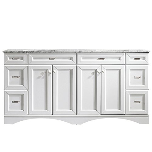 Vinnova 710072-WH-CA-NM Naples 72' Vanity Carrera White Marble Countertop Without Mirror