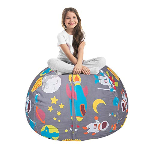 STTIAO Kids Stuffed Animal Storage Bean Bag with Carrying Handle Sturdy Cotton Bean Bag Cover Perfect for Toys and Clothes Kids Gift (Astronaut, 38'')