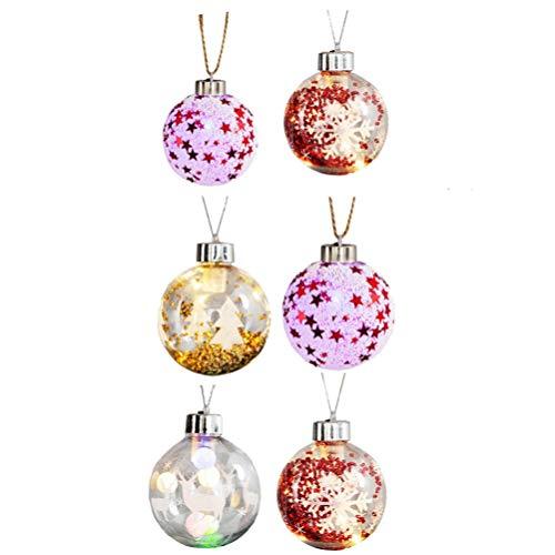 TOYANDONA 6 Piezas Adornos de Bolas de Navidad con Luz Led Bolas de Árbol Colgantes Cristal Transparente Bolas de Navidad Decorativas Adornos Decoración de Vacaciones