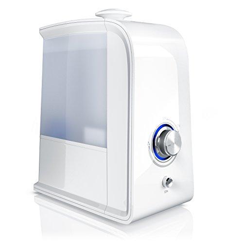 Arendo - LED Luftbefeuchter 3,5 Liter inkl. Ionisierung - Wasserfilter - Raumbefeuchter Luftreiniger - Ultraschall-Technologie - Geruchsneutralisation durch Ionisierung