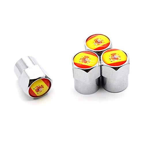 4 Pcs/Set Válvula del neumático Tapones Antipolvo Bandera Nacional España Aleación de Aluminio/Cobre para automóviles