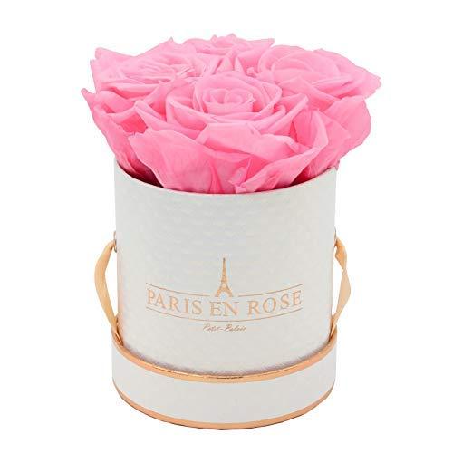 PARIS EN ROSE boîte de Roses Petit Palais Delux   Blanche-Noir Delux flowerbox avec des Roses Infinity Rose Madelaine   Boîte avec 4 Fleurs conservées